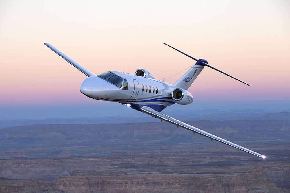 Cessna Citation CJ4 at sunset