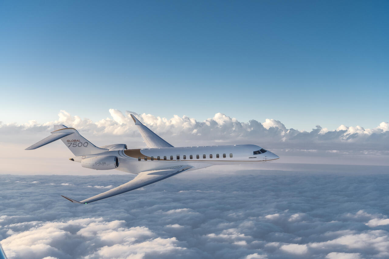 Bombardier Global 7500 flying in the clouds