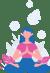 Girl sitting in Lotus Pose called Padmasana in Sanskrit practicing square breathing