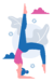 Woman doing yoga Feathered Peacock Pose (or	Pincha Mayurasana in Sanskrit)
