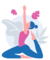 graphic of a woman sitting in a yoga pose with both arms stretched up in the air