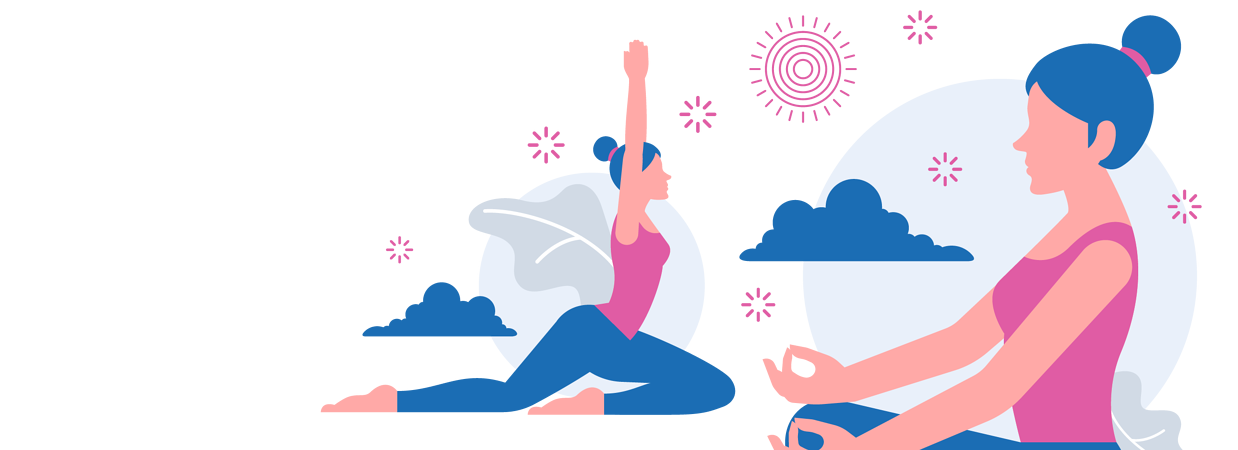 Two girls performing yoga holding different yoga poses