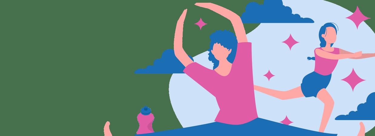 Two women doing pilates for beginners