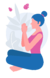 Girl sitting in a yoga meditation pose