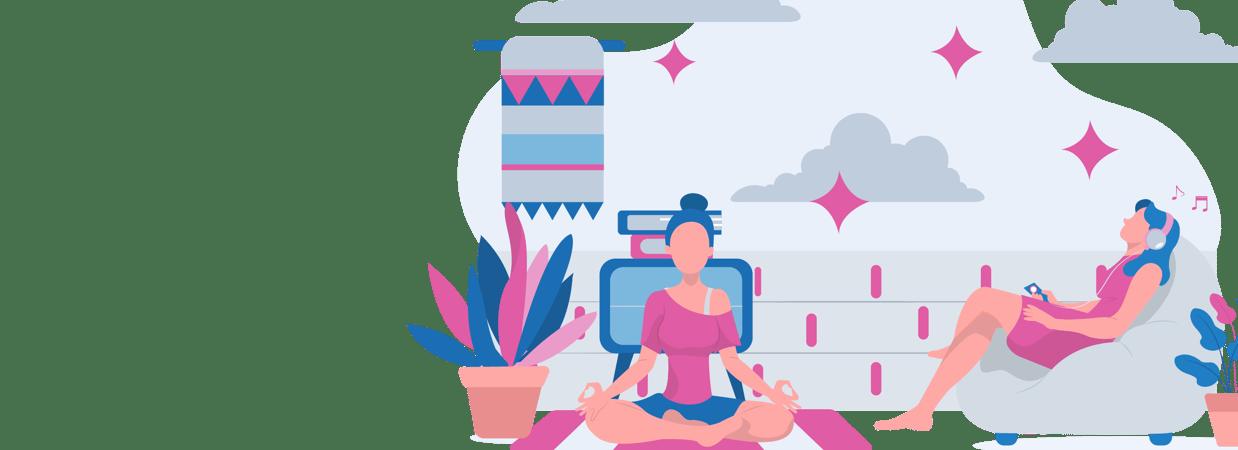 Two women learning pranayama Breathing, how to do Yoga Breathing