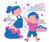 girl and a boy playing outside as mindful activities for kids