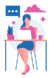 girl sitting in front of computer thinking of workplace wellness