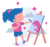 girl standing in front of an easel painting as a mindful activity for kids