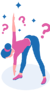 graphic girl bending forward pointing left arm down in gentle yoga pose