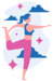 graphic woman standing on one leg-holding other leg with hand practicing kundalini