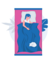 graphic girl laying on pink bed with blue cover sleeping with a white cat