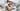 sleep hygiene mom Caucasian woman in pajamas with baby sleeping