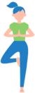 young girl performing the tree pose in yoga