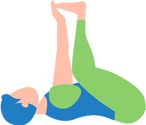 young man performing yoga pose happy baby