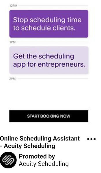 acuity scheduling pinterest ad
