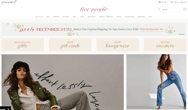 free people holiday homepage