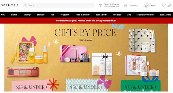 sephora holiday homepage
