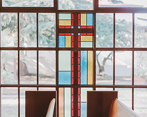 Gorgeous stained glass windows throughout