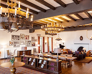 The Officers' Club at the Presidio features cozy, yet elegant details