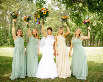 Azazie Bridesmaids in a Seafoam Green Dress