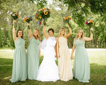 Azazie Bridesmaids in a Seafoam Green Dress