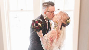 Tattooed bride and groom at Boulder Creek by Wedgewood Weddings