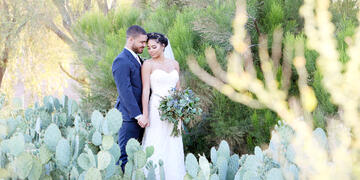 Bride & Groom in Cactus Garden | Palm Valley by Wedgewood Weddings