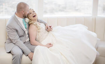 Beautiful Bride & Groom Portrait at Pacific View Tower