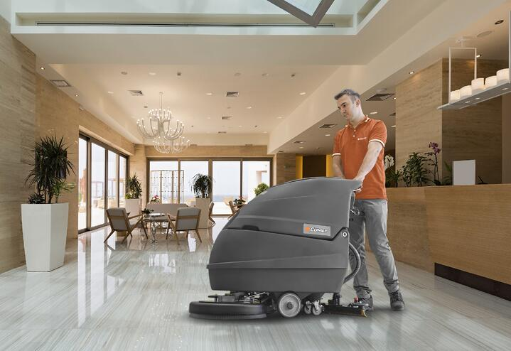 CLEANING AND MOPPING HOTEL AND RESTAURANT FLOORS: FLOOR SCRUBBER DRYERS AND SWEEPERS ARE TRUE MUST-HAVES