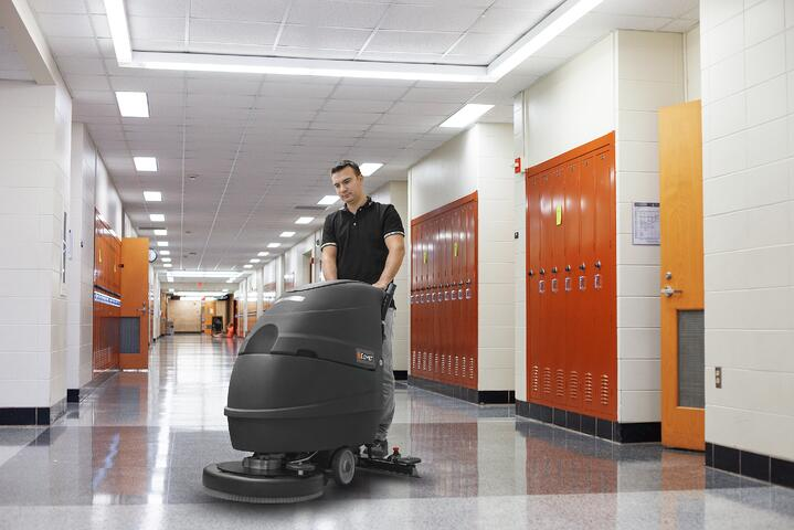 SCHOOLS: CLEANED AND SANITIZED FLOORS WITH FLOOR SCRUBBER DRYERS AND SWEEPERS