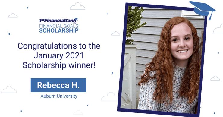 January 2021 1st Financial Bank USA Financial Goals Scholarship Winner: Rebecca H.