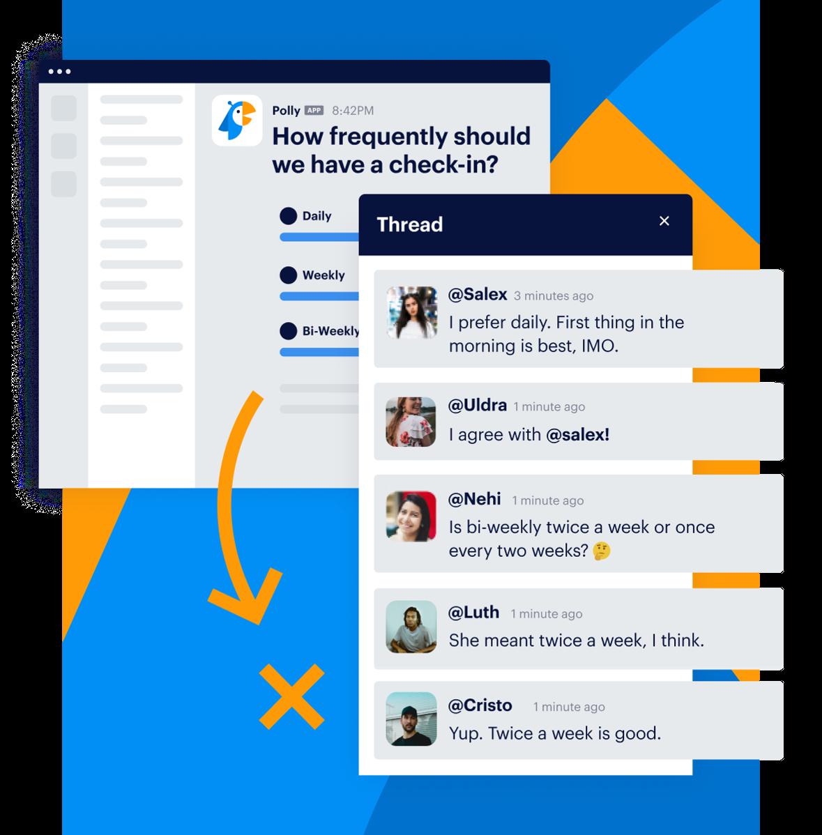 thread of employee feedback on meeting times