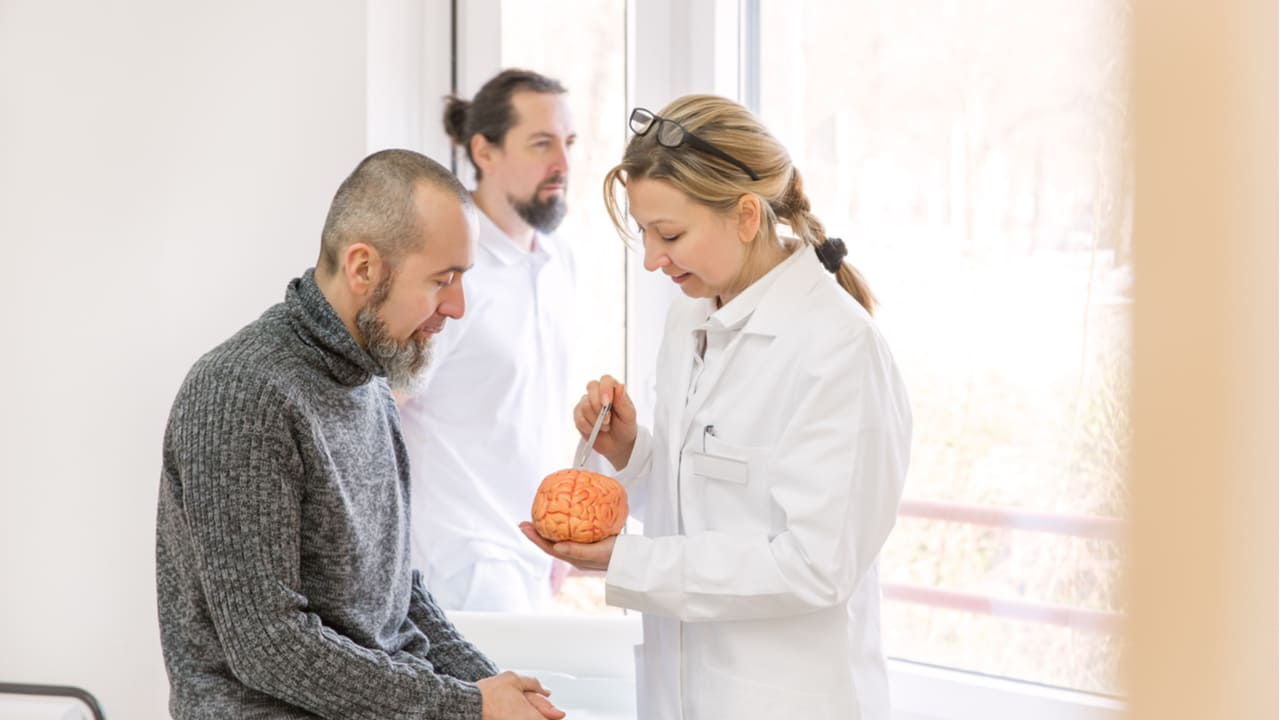 paciente conversando con doctora sosteniendo un modelo de cerebro