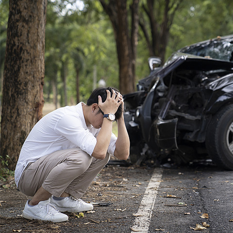 man anxious about car crash