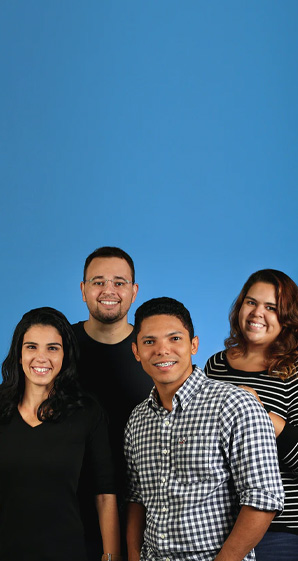 group of people with blue background