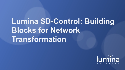 Lumina SD-Control: Building Blocks for Network Transformation