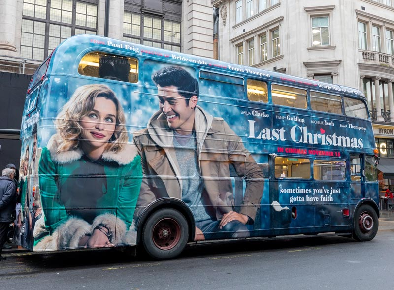 Last Christmas branded Routemaster for movie launch