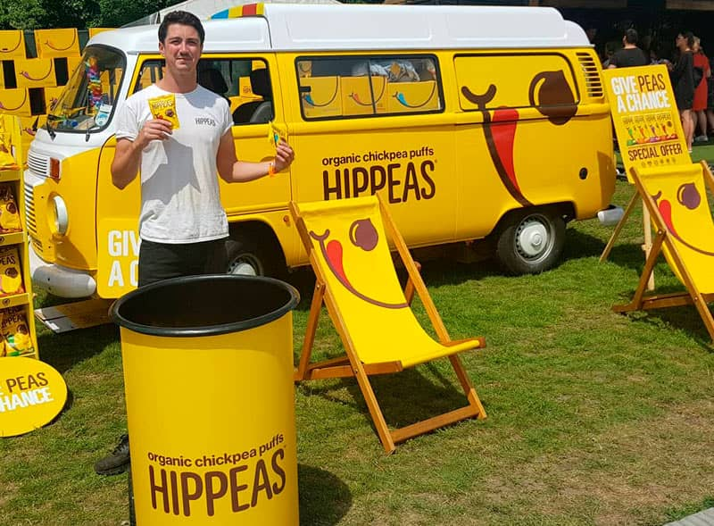 Hippeas product sampling activation using a retro camper van