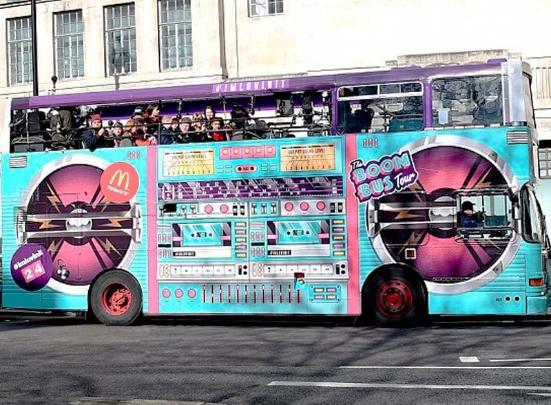 McDonalds branded open top bus