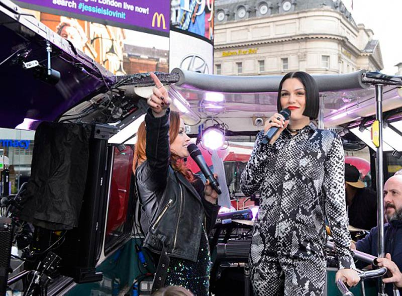Jessie J performing on open top bus tour with McDonalds