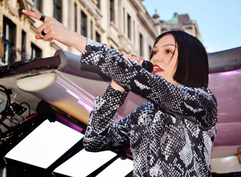 Jessie J performs on the top deck of our double decker bus hire
