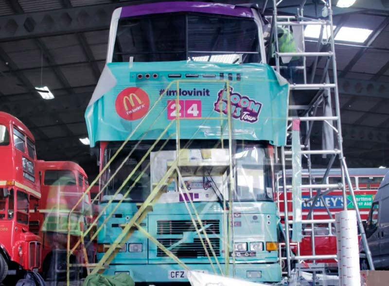 Production of McDonalds open top bus hire