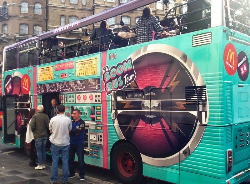 Branded open top double decker bus hire