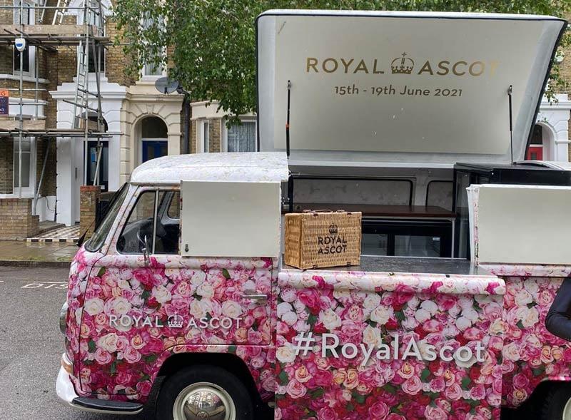 Ascot doorstep campaign using VW camper bar
