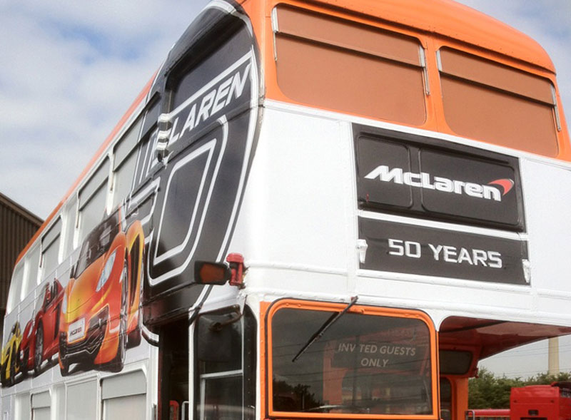 McLaren branded Routemaster bus hire