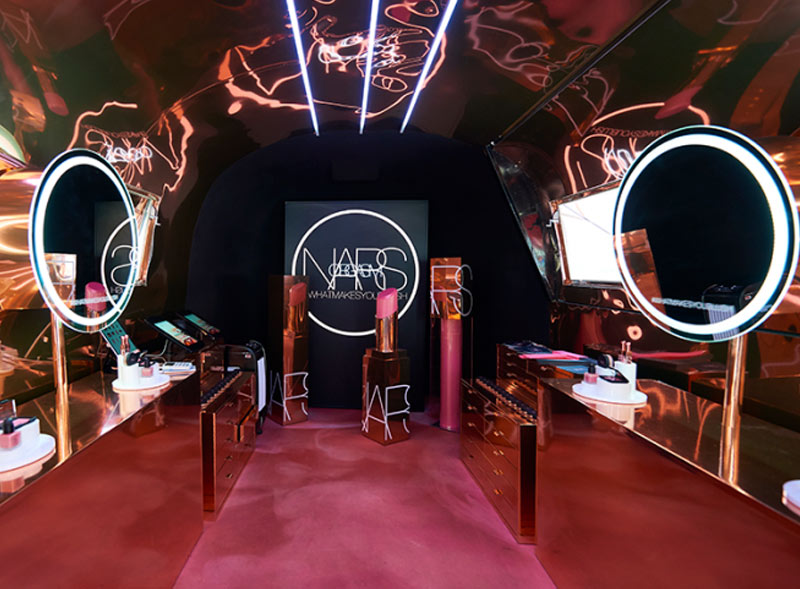 NARS pop-up beauty Airstream with bespoke branded interior
