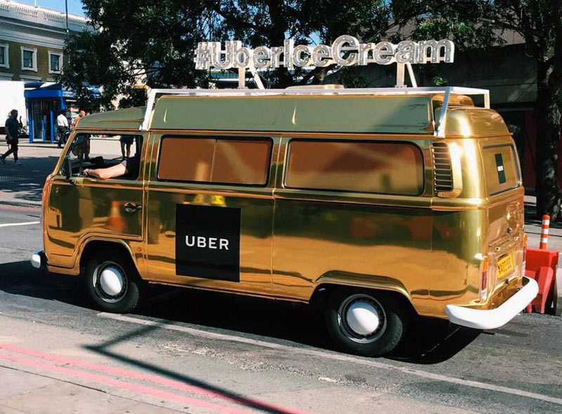 Gold Wrapped Uber Branded VW Camper Van Hire