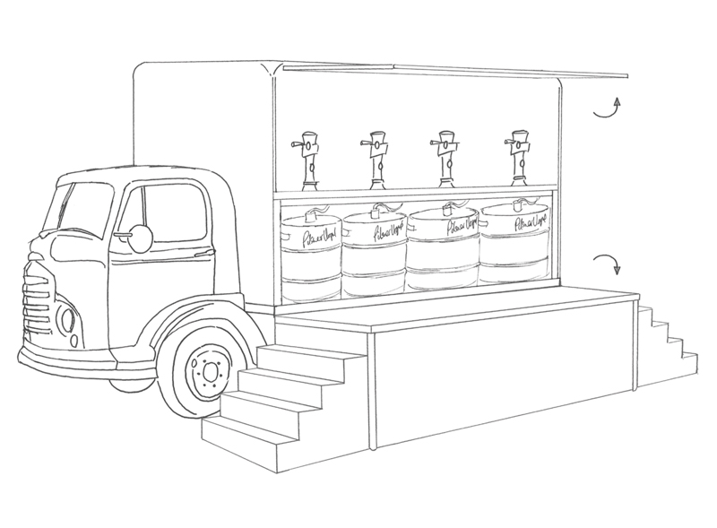 Pilsner Urquell Portable Bar Drawings