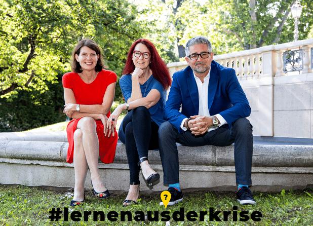 Katharina Sigl, Margit Berner und Thomas Dorner, InitiatorInnen von Lernen aus der Krise im Interview zur Deep Dive Learning Initiative.