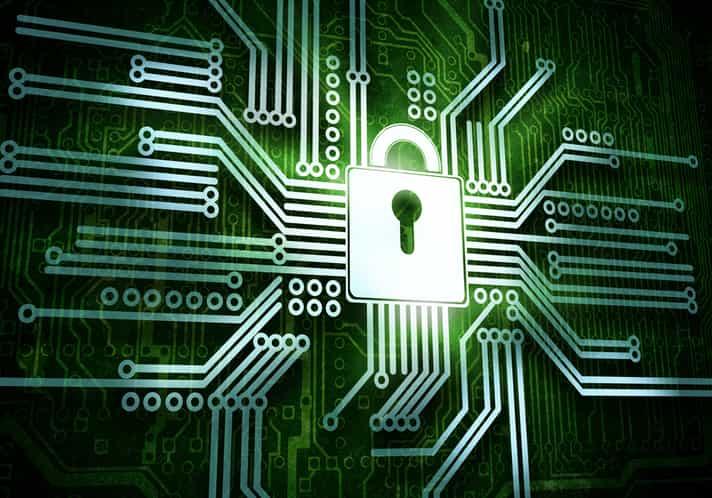 Conceptual image of micro circuit. Security concept-1